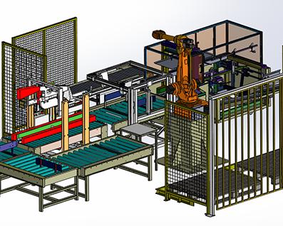自动开箱、装箱、封箱、码垛一化生产线